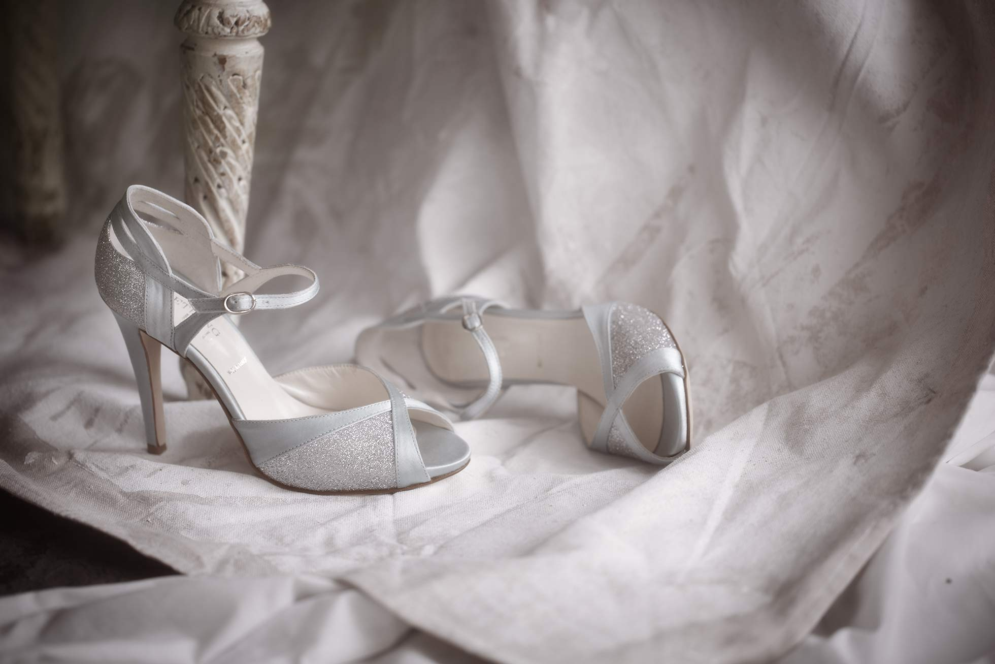 Bridal shoes photograph  on canvas background