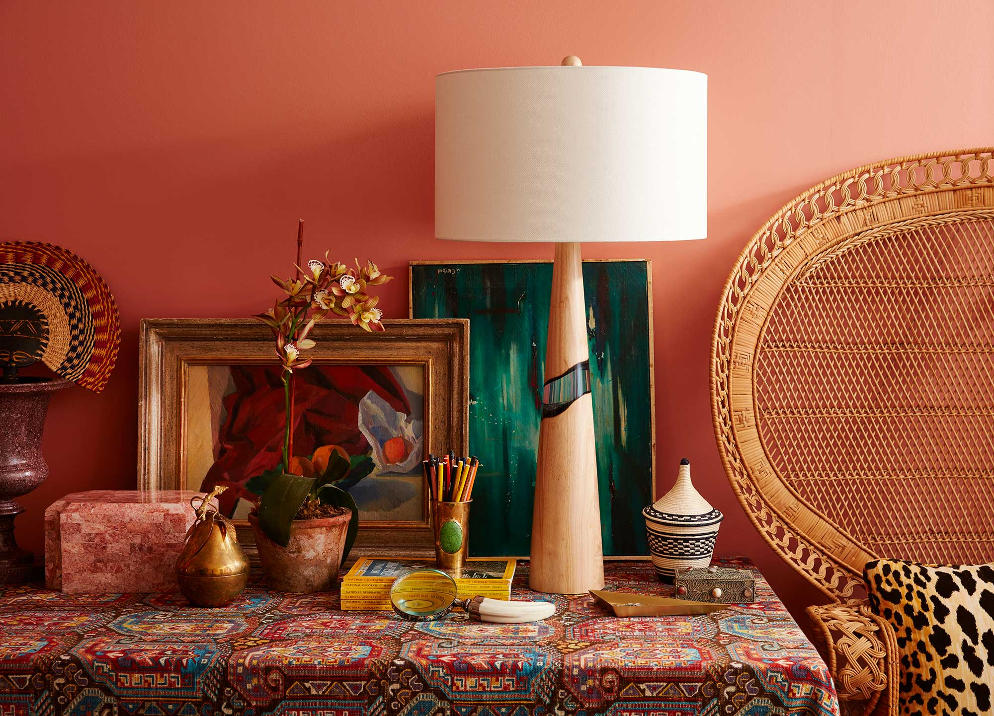 Catalog photograph featuring a colorful lamp in a stylish interior