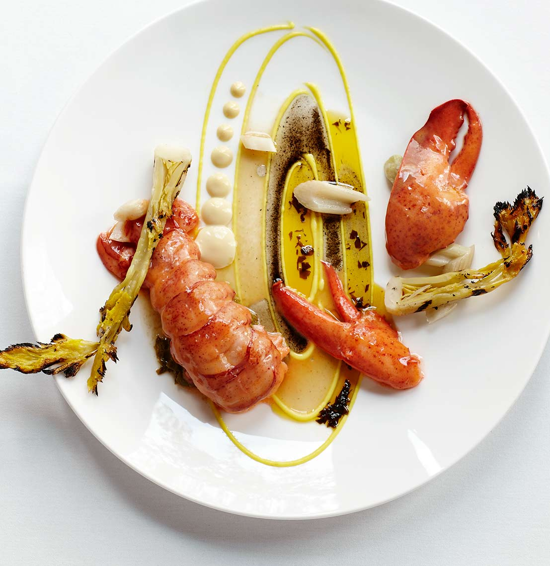Food photograph showing lobster.