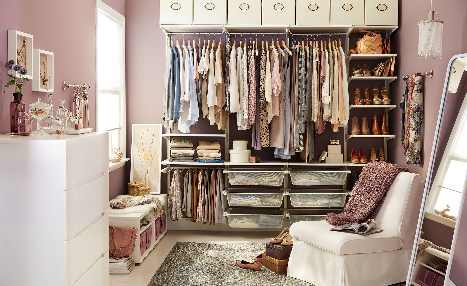 catalog photo for IKEA showing closet style and organization.
