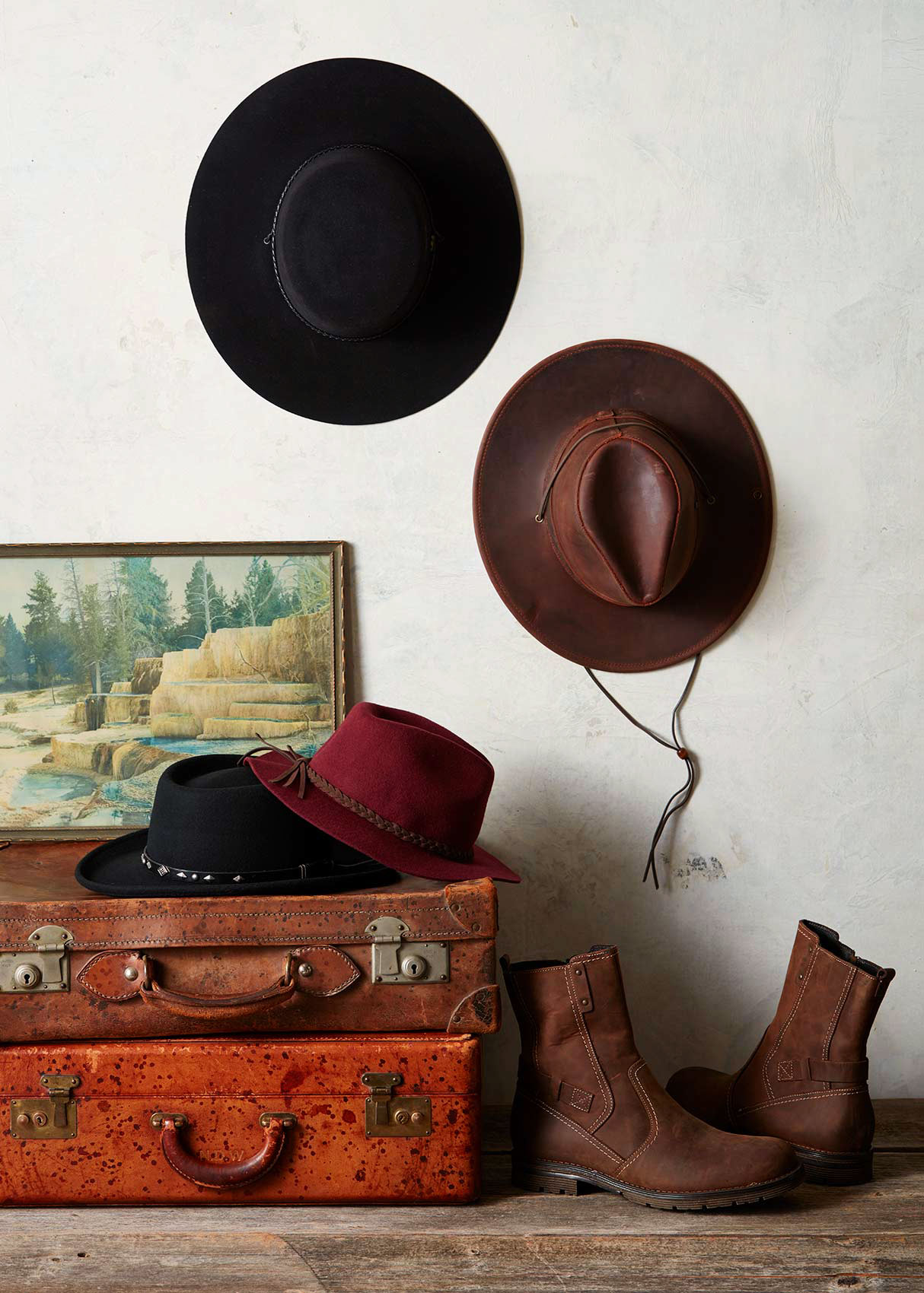Catalog photography featuring hats and shoes.