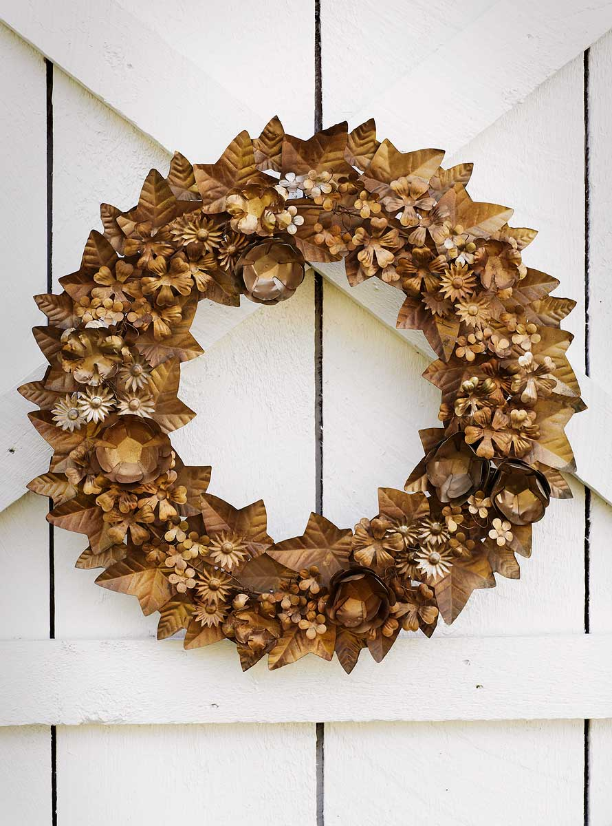 Gold wreath outdoors