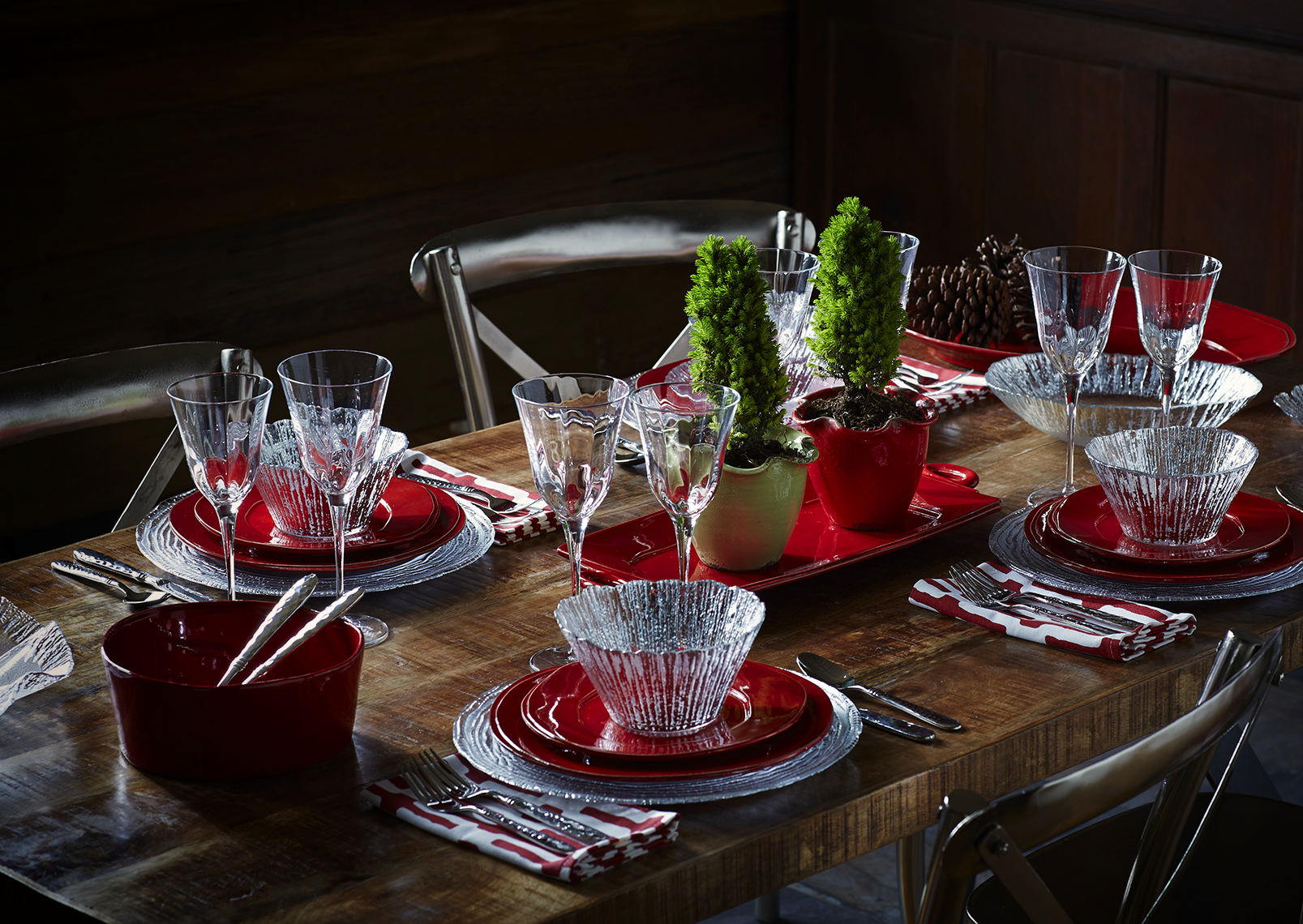 Catalog photography featuring a dark colorful table and artisan ceramics