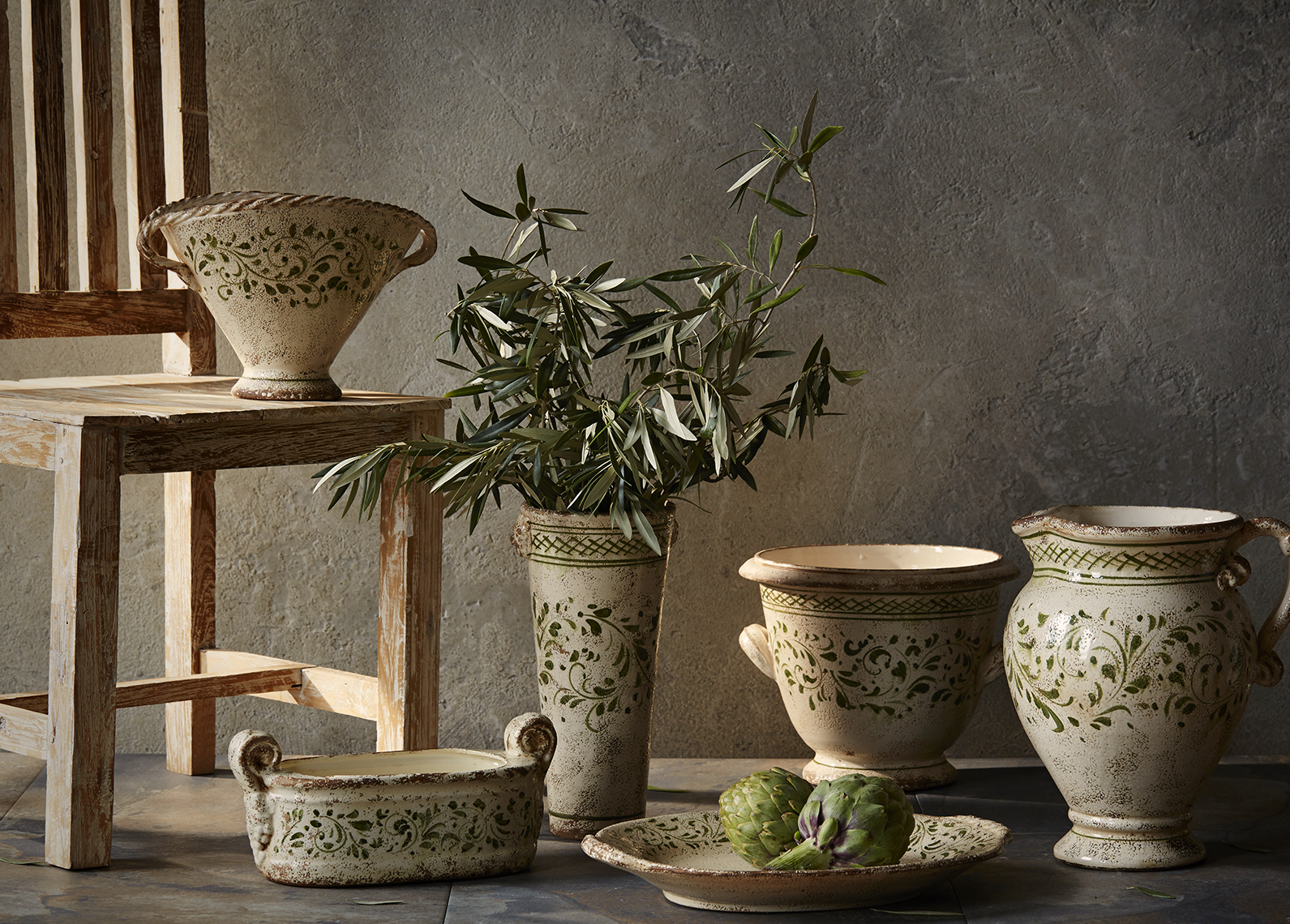 Catalog photograph showing handmade pottery and vases