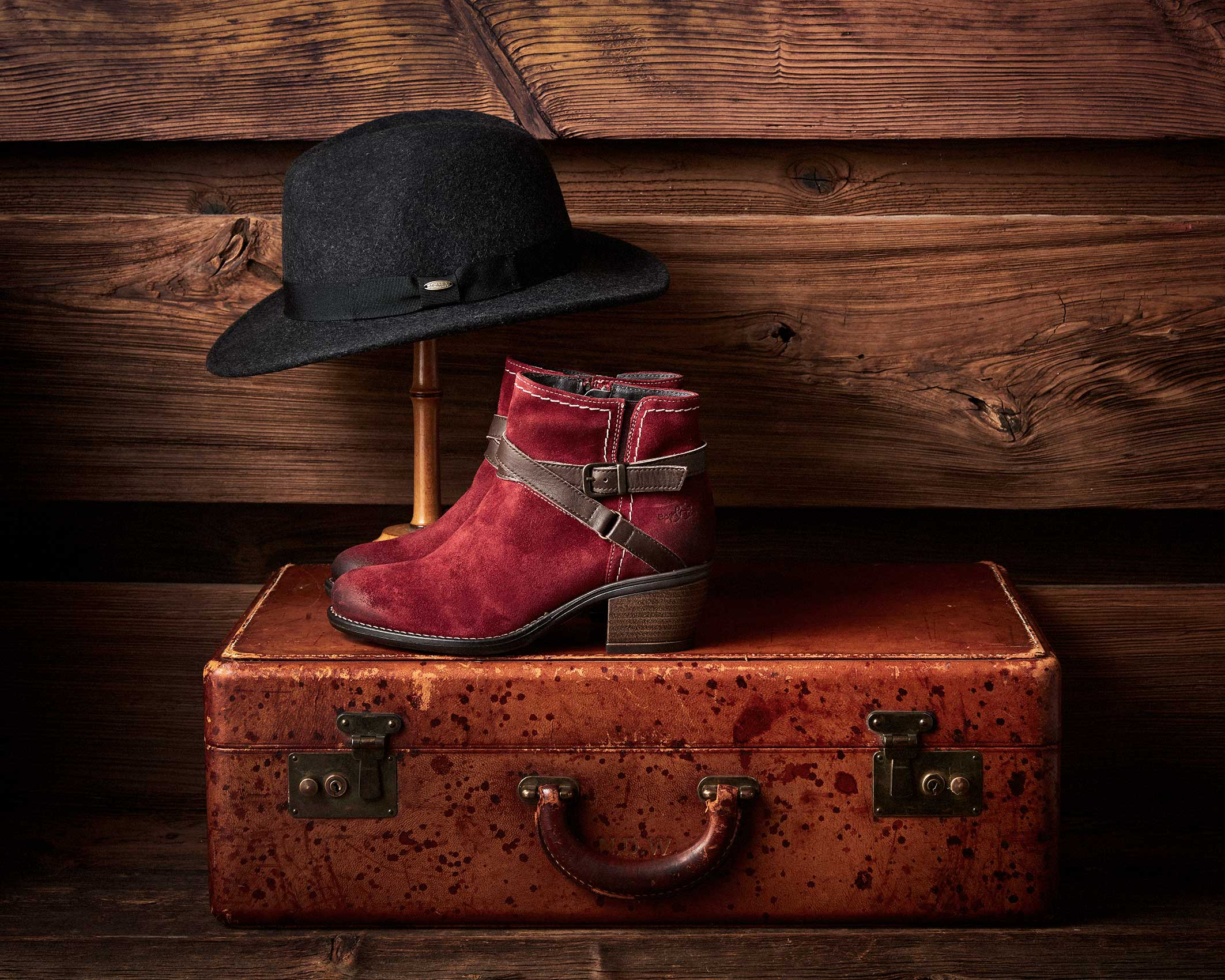 Still life fashion photo showing hat and red boots.