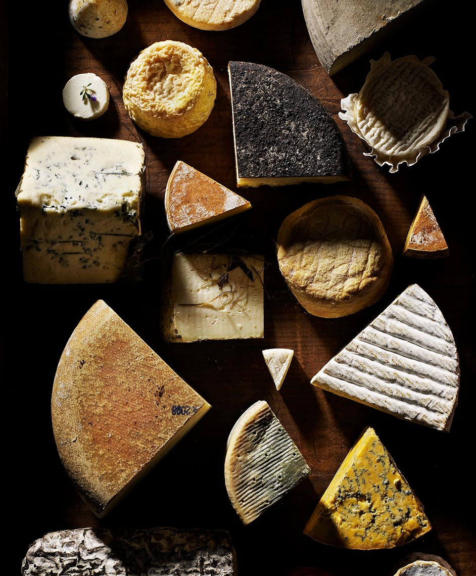 Graphic food photography showing various cheeses.