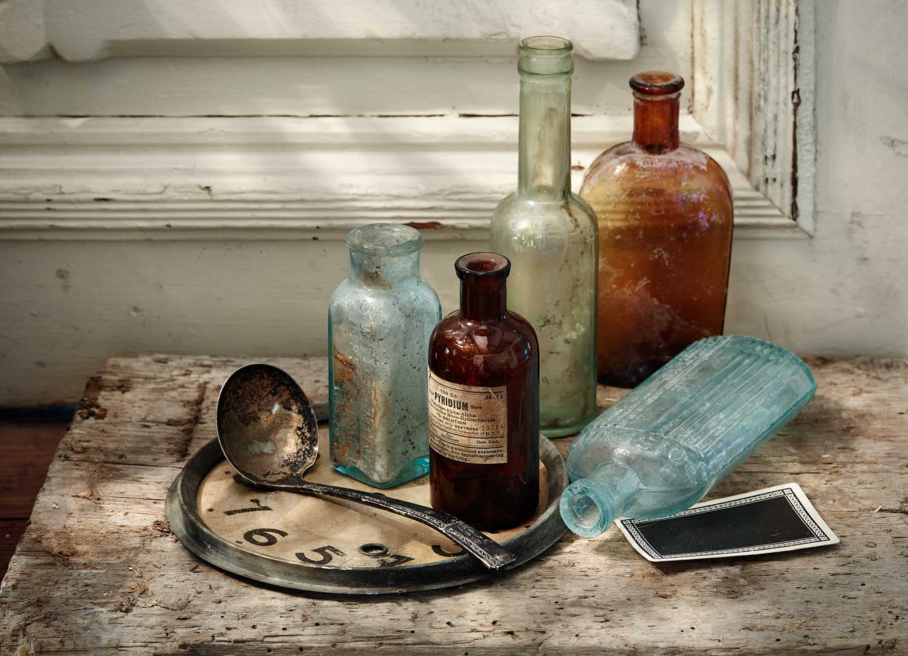 Vintage bottles still life composition.