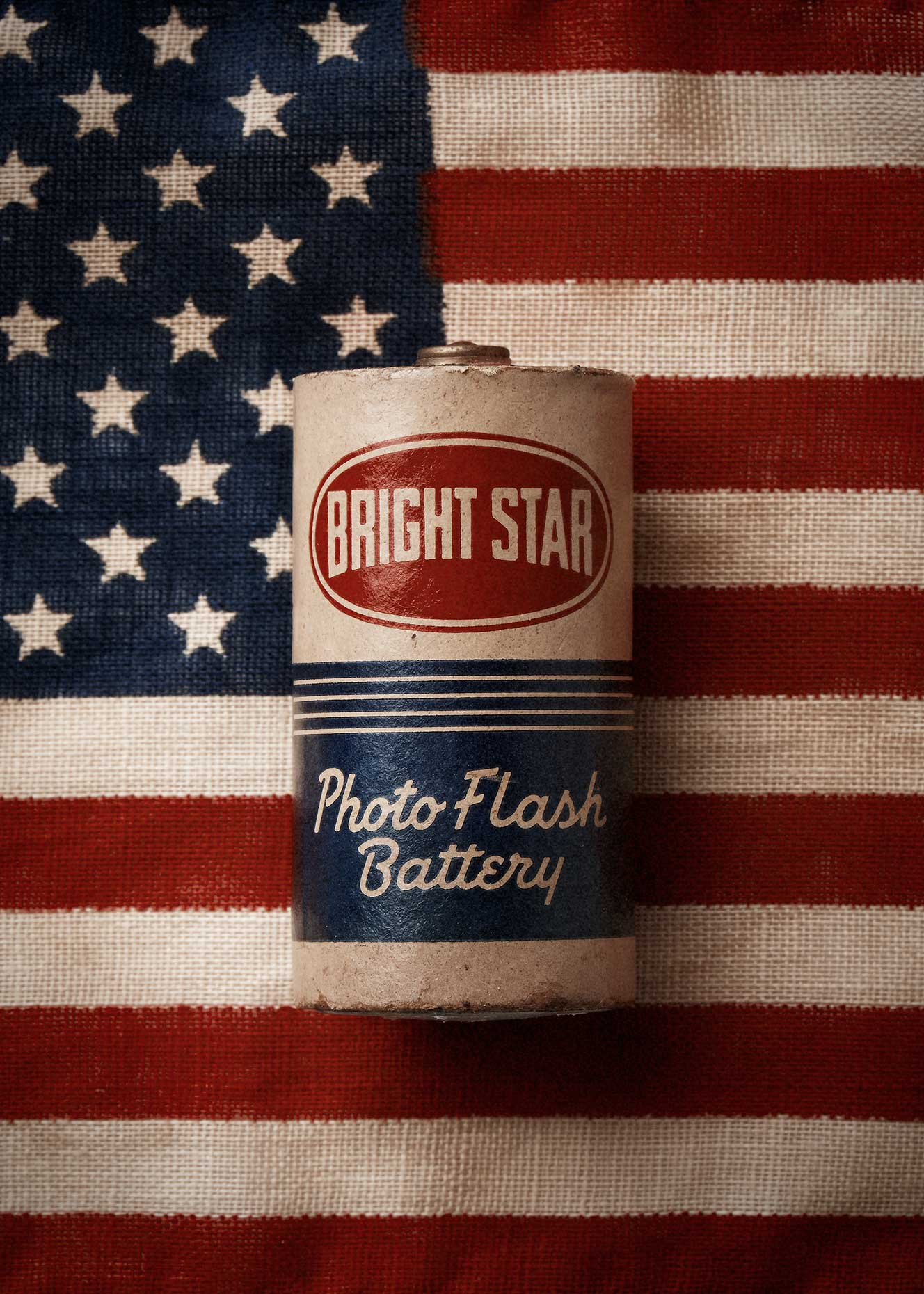 Old battery on the american flag