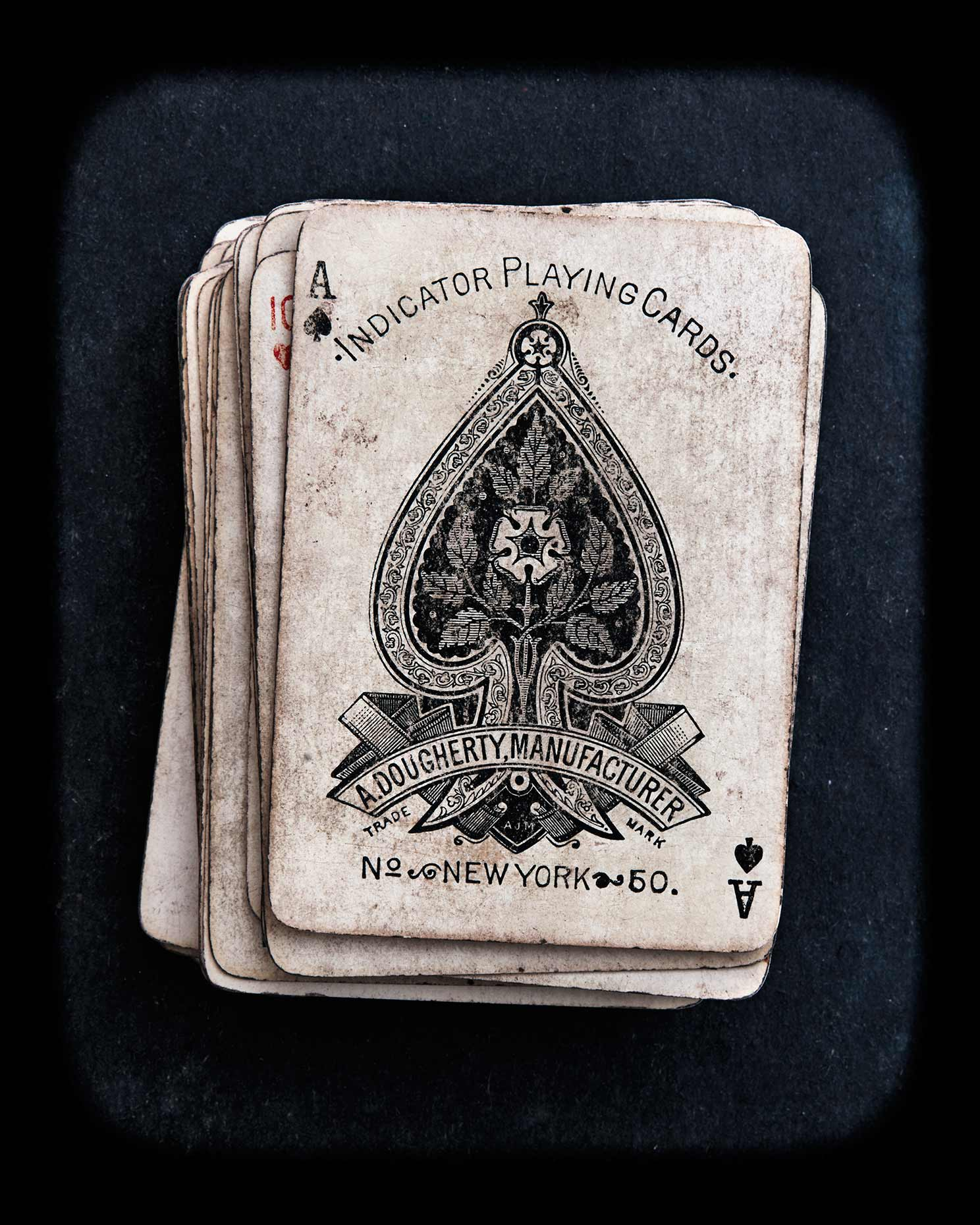 The Ace of Spades from a vintage card deck.