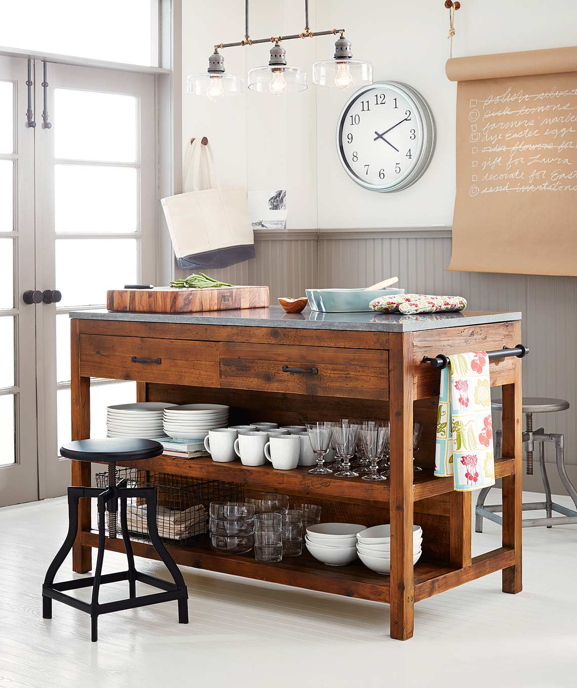 Crate and Barrel catalog photograph of a kitchen island