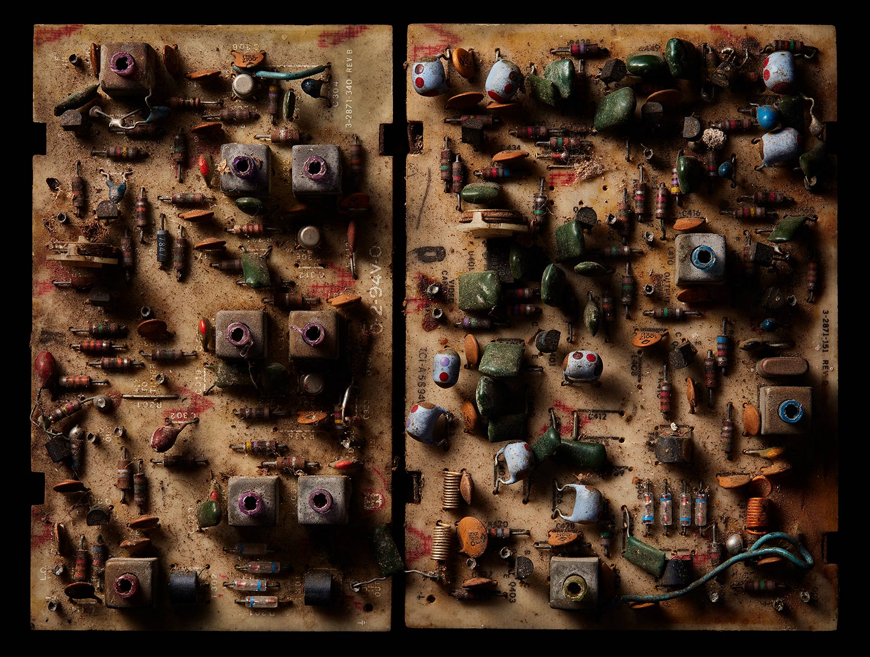 Macro photography of antique circuit boards.