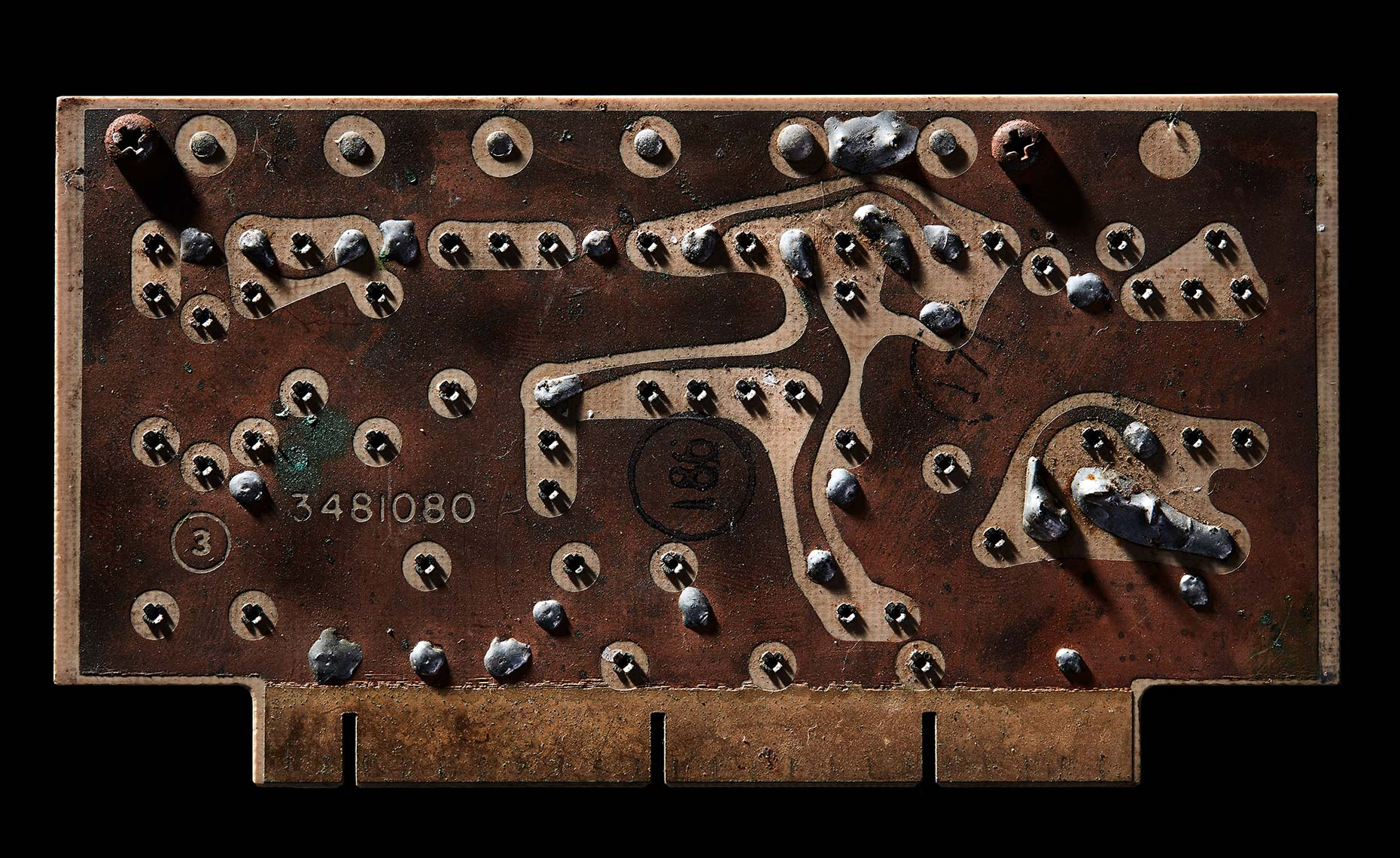 Macro photography of a simple antique circuit board