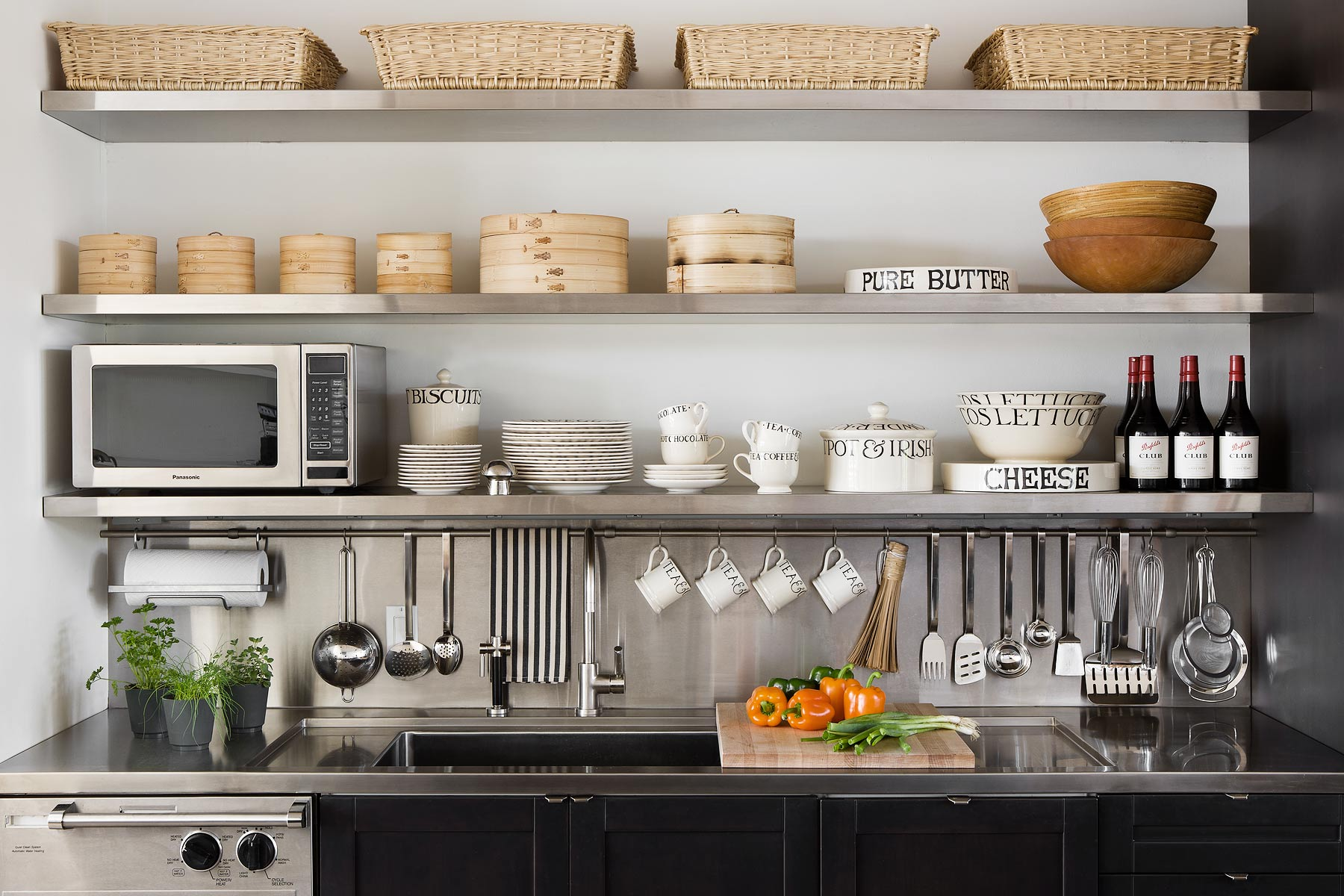 Home catalog photograph showing organized kitchen shelves