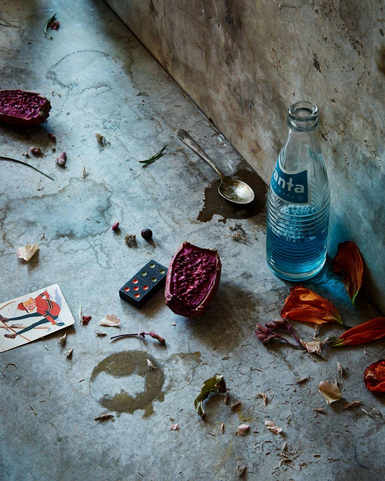 fine art still life image with odd colorful props