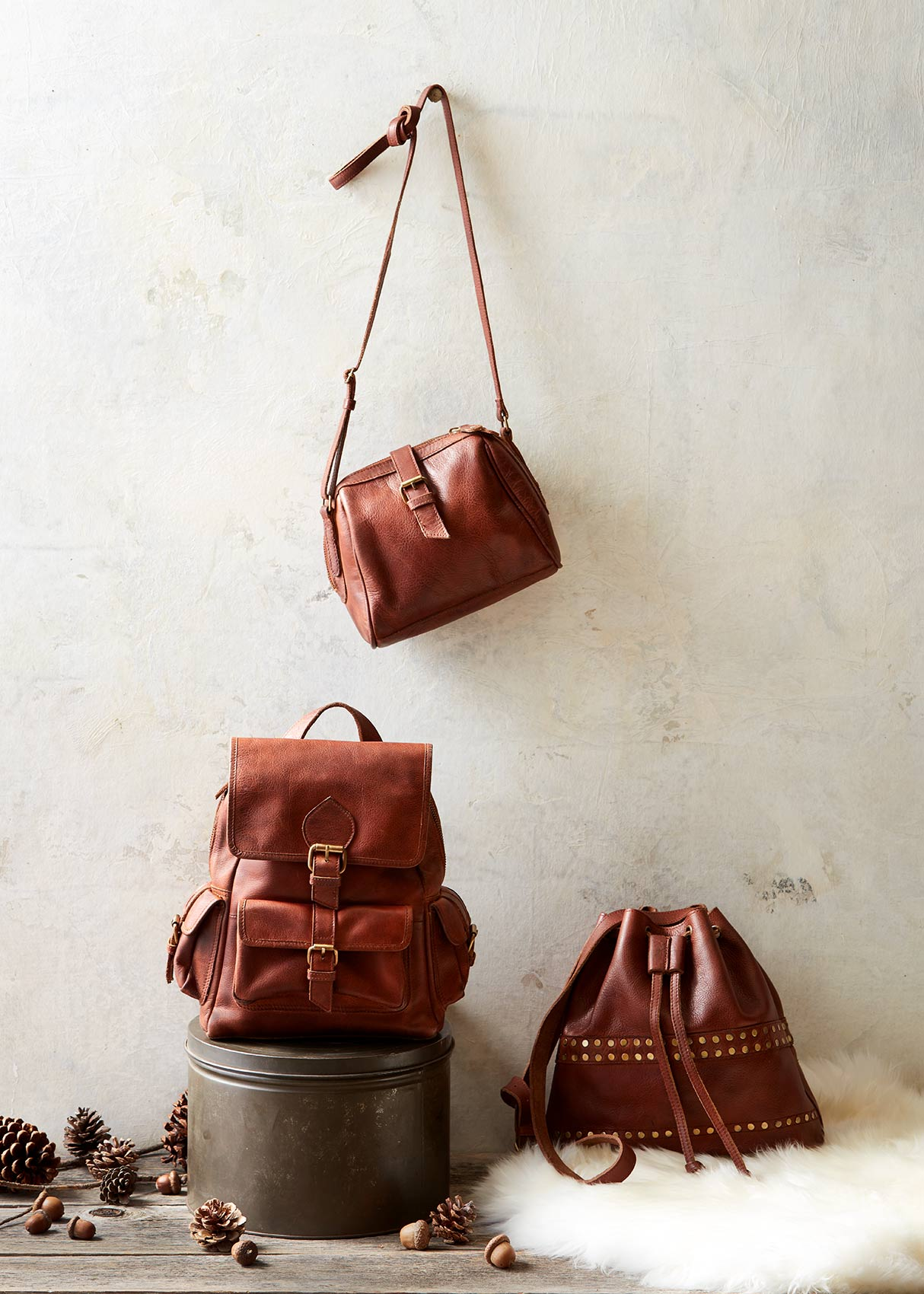 Catalog photography featuring bags and shoes.