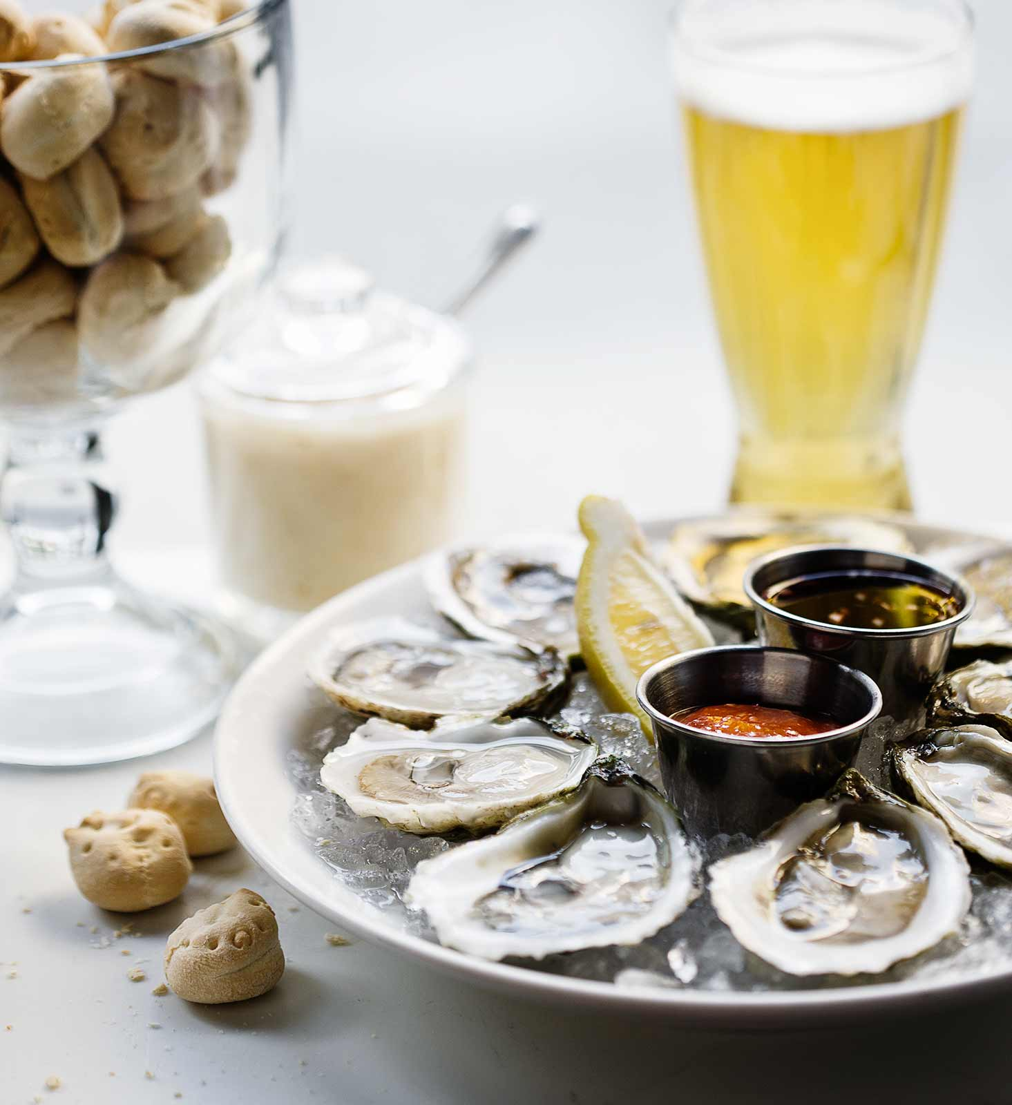 Oysters and beer at a seafood restaurant