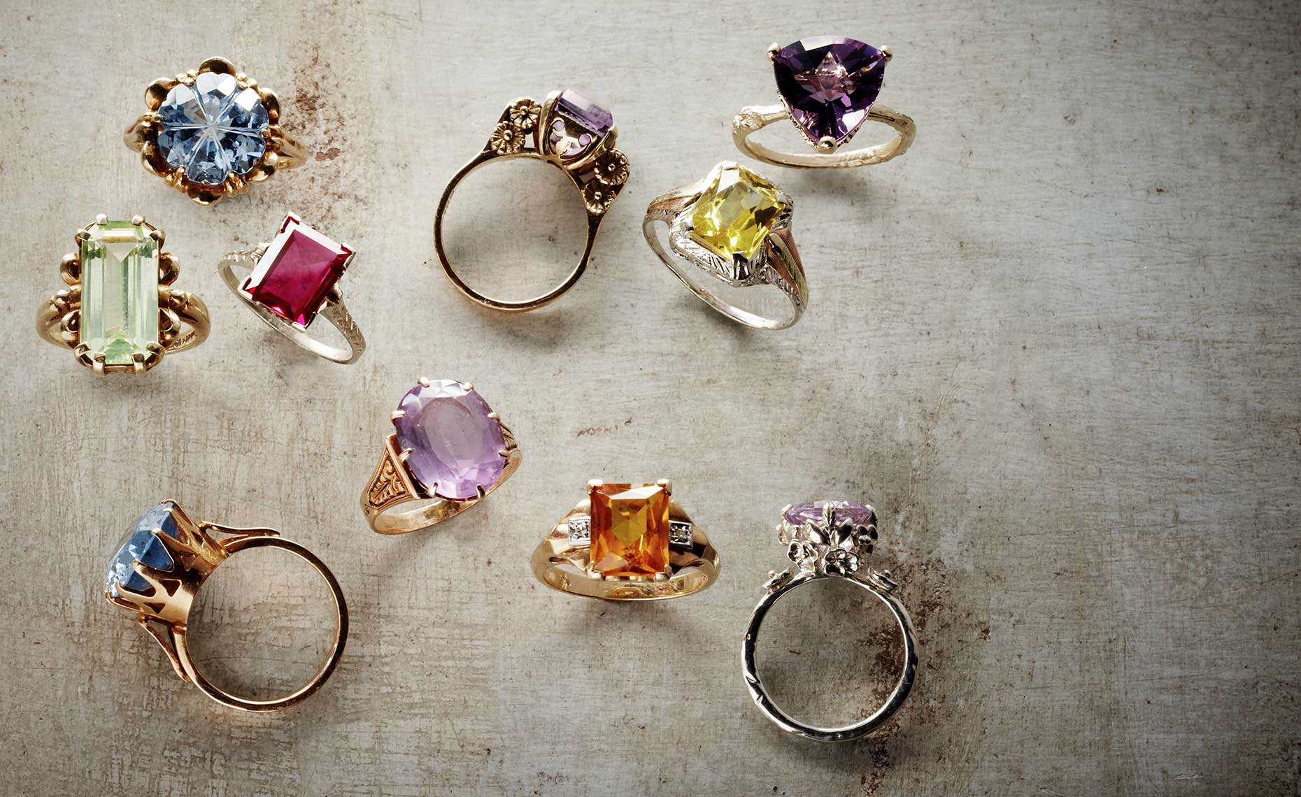Jewelry photography showing colorful rings.