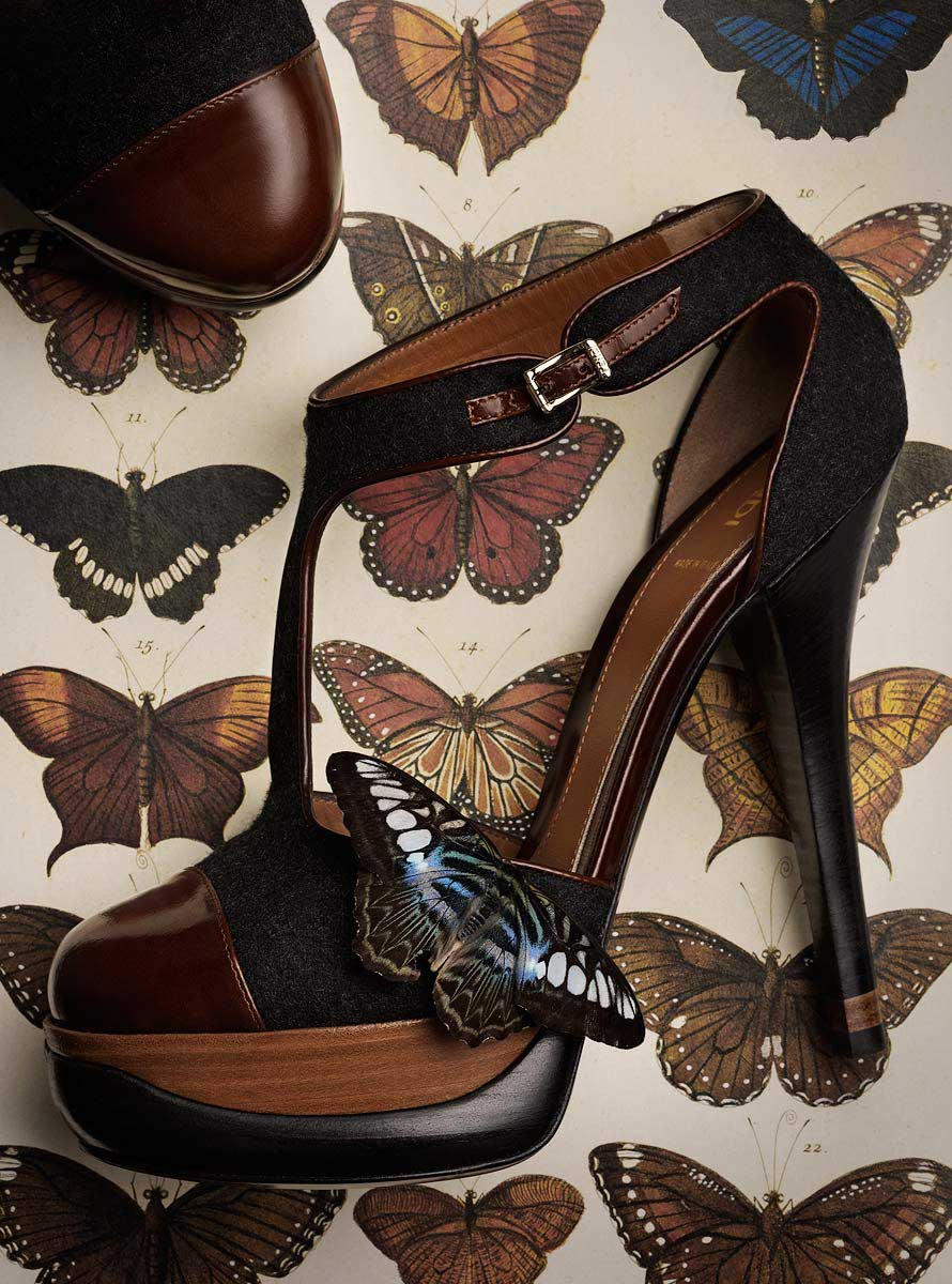 Fashion still life showing shoes with butterflies.