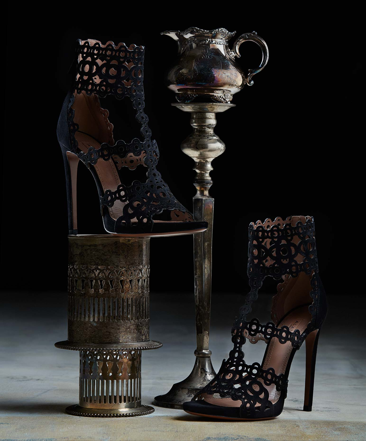 Tea set and heels still life photograph