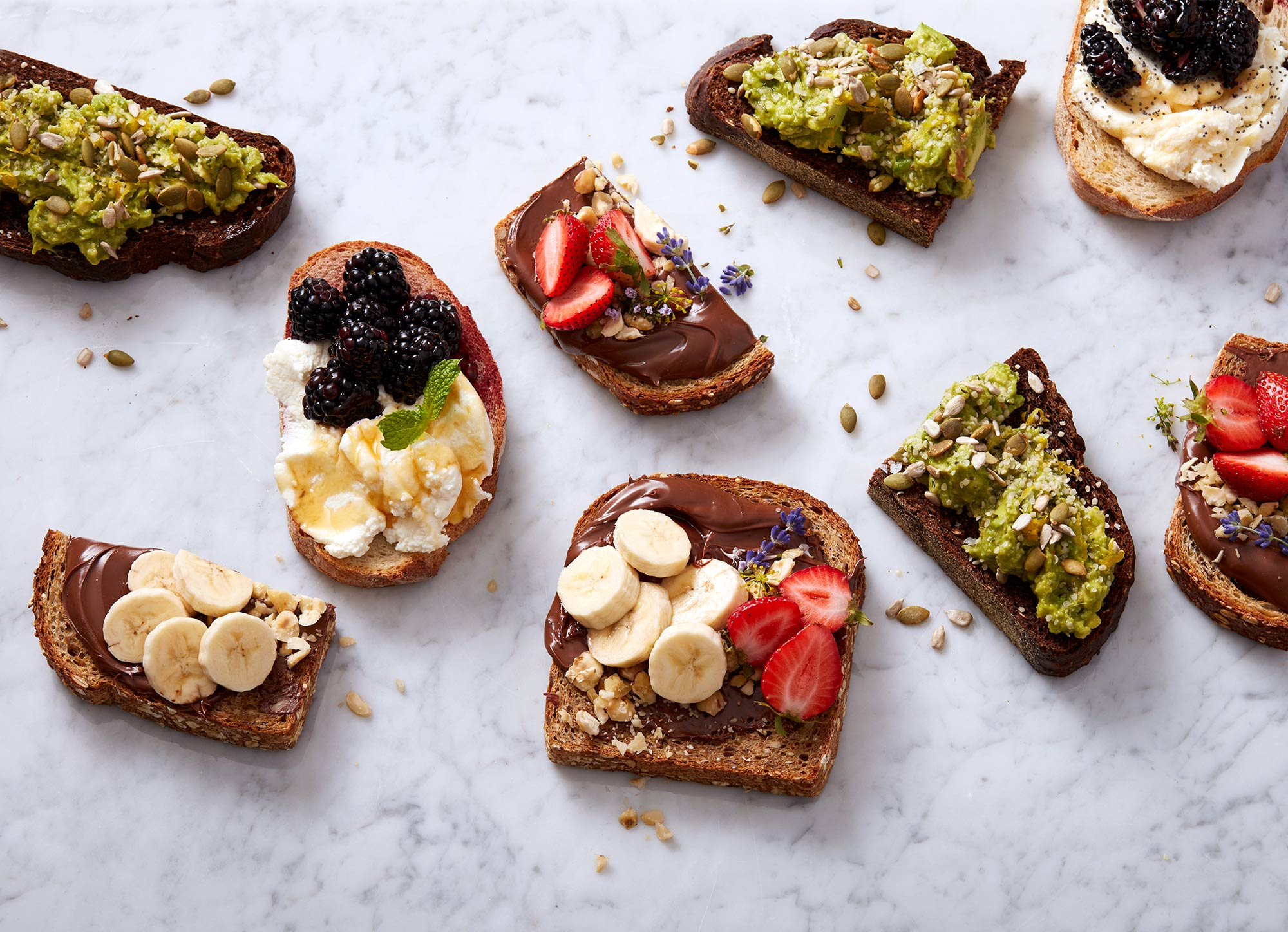 food photography showing different toast options for breakfast