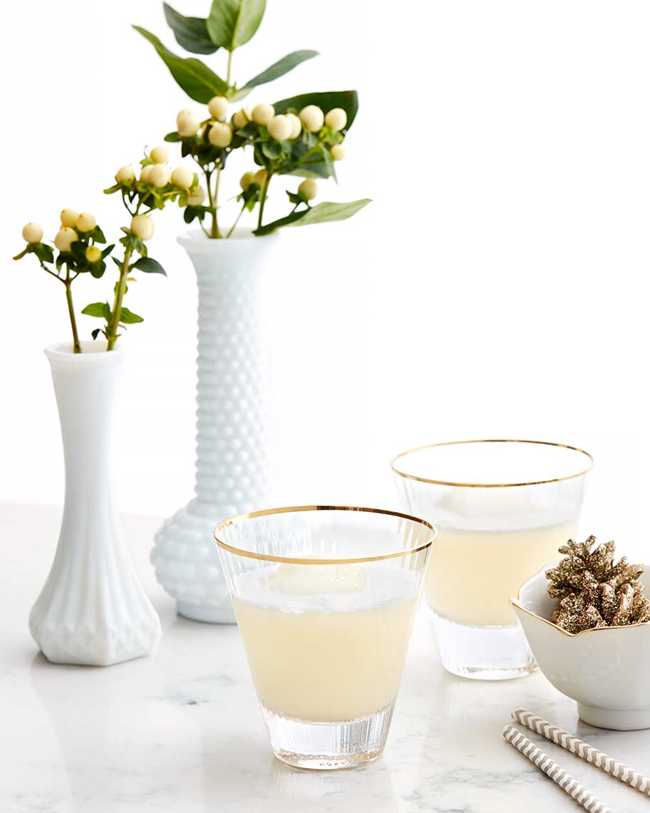 white cocktail with flowers